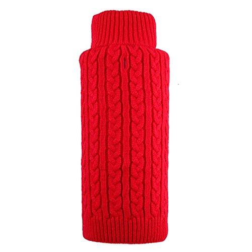 Cable Zip Sweater, Red, XS