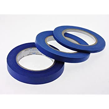 """1/4"""" 1/2"""" 3/4"""" x 60 yd Multi Size Pack Blue Painters Tape PROFESSIONAL Grade Fine Masking Edge Pin Stripping Trim Multi Surface Easy Removal (.25 .5 .75 in)"""