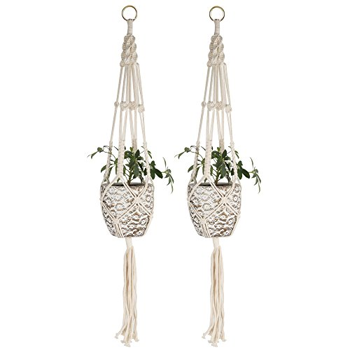 Plant Hanger, STYDDI 2 Pack Handmade Indoor Outdoor Flower Pot Plant Holder Hanging Planter Basket Handmade Cotton Rope, 4 Legs 41 Inch