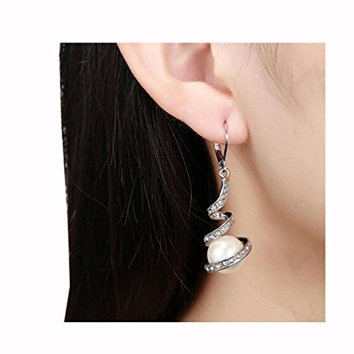 (Becoler Pearl Spiral Long Hoop Drop Earrings Jewelry for Womens )