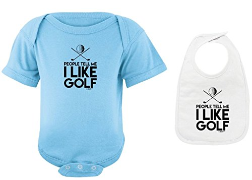 Funny Baby Clothes People Tell Me I Like Golf Light Blue Bodysuit White Bib Bundle 6 Months