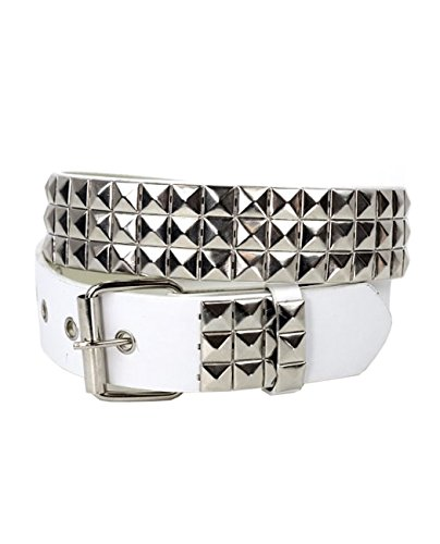Removable Roller Buckle (NYFASHION101 Pyramid Stud Faux Leather Belt w/ Removable Roller Buckle, White/Silver,)