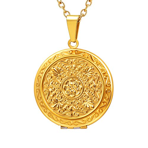 U7 Vintage Locket Necklace for Women with Free 22 Inch Chain 18K Gold Plated Flower Pattern Round Photo Lockets Pendant