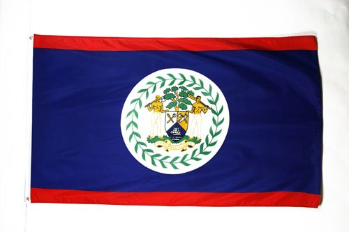 BELIZE FLAG 3' x 5' - BELIZEAN FLAGS 90 x 150 cm - BANNER 3x5 ft Light polyester - AZ FLAG (Belize Outdoor Furniture)