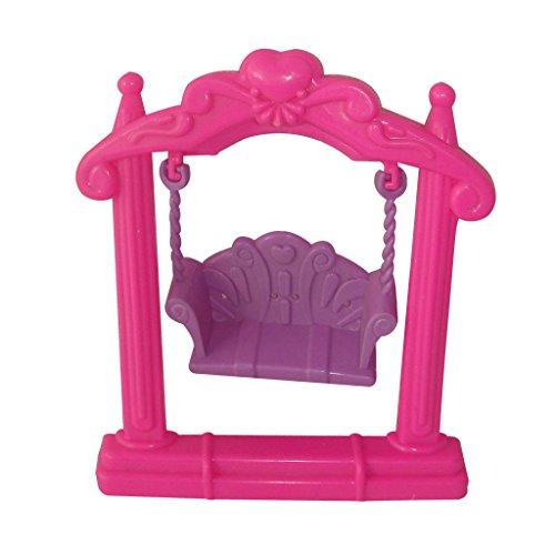 Lovely Barbie Doll House Furniture Garden Plastic Double Swing Playing Set Random (Dollhouse Swing)