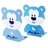 ANTIMAX Cute Cartoon Bear Bookends Nonskid Kids Children Metal Heavy Duty Bookends Home Office Nursery Decor Gifts for Boys Girls Blue (2 Pcs / One Pair)