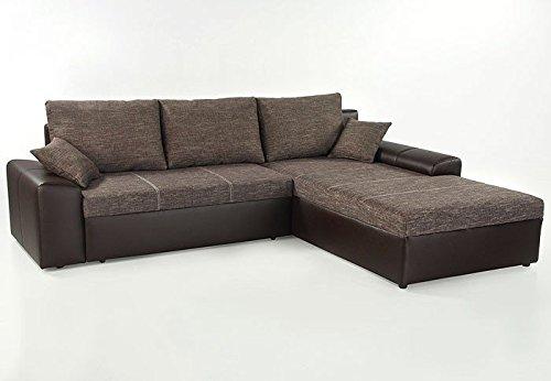 Ecksofa sharon 250x193cm braun couch sofa polsterecke for Schlafsofa yatego