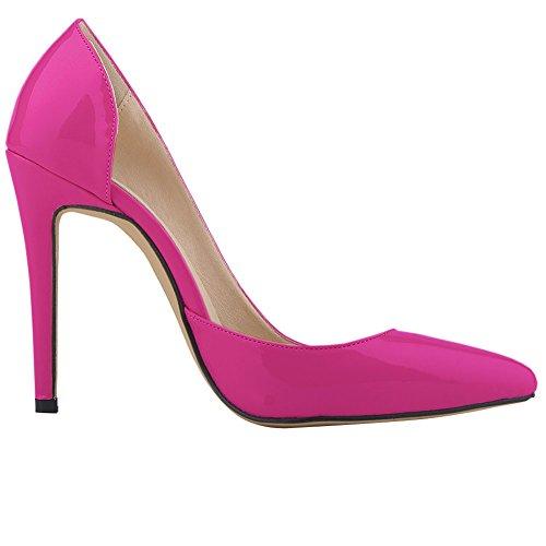Fereshte Donna A Punta Chiusa Tacco A Spillo Snello Stiletto Pompe Rosso Rosa