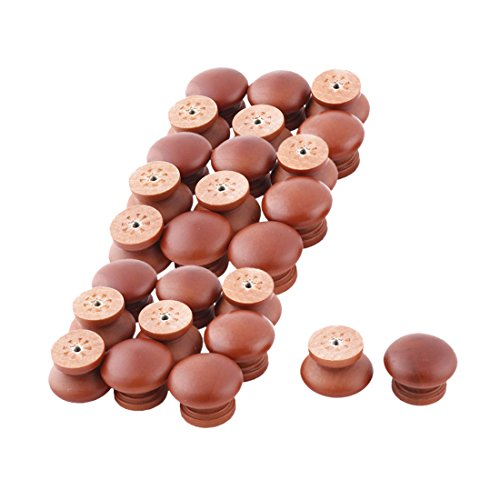 uxcell Wood Dorm Door Round Cabinet Drawer Garderobe Pull Handle Grip Knob 26pcs by uxcell