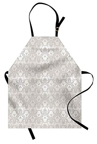 Grey Aprons, Adjustable Bib Kitchen Cooking Apron for Women Men Chef Professional for Baking Gardening - Vintage Rococo Motifs Inspired by Antique Damask Style Victorian Garden Revival Art, Pale Grey
