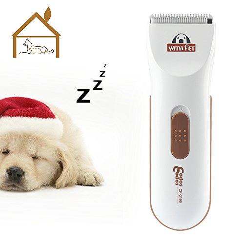 BOVON Professional Dog Clippers - Low Noise Pet Hair Clippers Cordless Dog Trimmer Pet Grooming Tools with Stainless Steel, 2 Comb Guides for Small/Large Dogs, Cats, Horse and Other Animals (White) ()