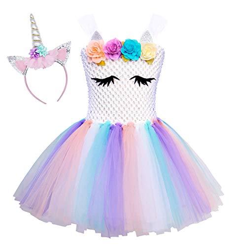 AmzBarley Girls Unicorn Costume with Headband Cute Horse Eyes Flower Birthday Party Toddler Kids Tutu Dress Halloween Outfits White Age 8-9 Years ()