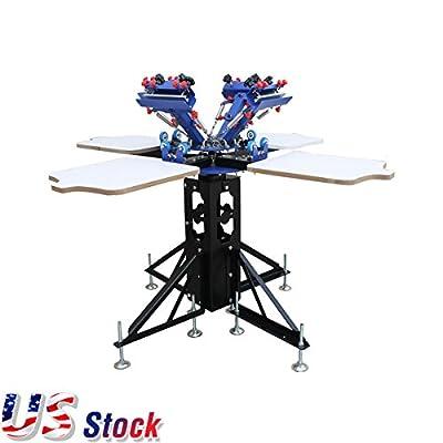 US Stock-Silk Screen Printing 4 Color Printer Press Shirt Micro-adjust Rotatable Machine