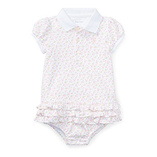 RALPH LAUREN Baby Girl Floral Polo Dress & Bloomer Set Pink Multi (6 ()