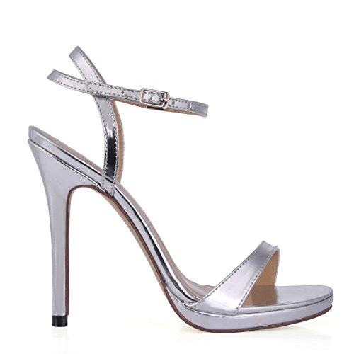 Cinturino Donna Alto a CHMILE Argento Spillo Tacco Caviglia Scarpe Partito Sandali Piattaforma patent alla Nuziale da Sposa Eleganti 1cm CHAU Moda t6Aw6Y