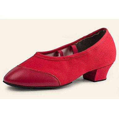 XIAMUO Nicht anpassbar - Die Frauen tanzen Schuhe synthetische Synthetische Dance Sneakers Heels Cuban Heel Praxis Schwarz/Rot, Rot, US 6 / EU 36/UK4/CN 36