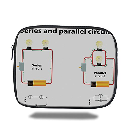 iPad Bag,Educational,Series and Parallel Circuits Voltage Electric Science Equipment Print,Red Marigold Black,Bag ()