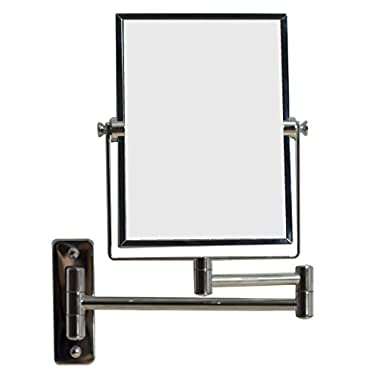 American Imaginations AI-646 5-in. W x 13-in. H Rectangle Chrome Wall Mount Magnifying Makeup Mirror With Dual 1x/5x Zoom