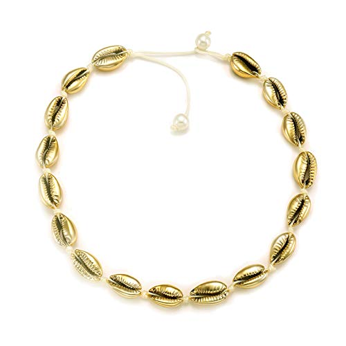 HSWE Natural Cowrie Shell Choker Necklace Gold-Plated Sea Shell Necklace Adjustable Cowry Charms Gilded Beaded Cord Rope Hemp Necklace Handmade Boho Beach Summer Jewelry (Gold)