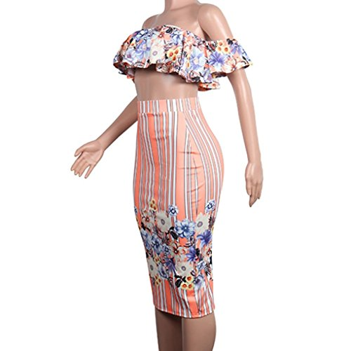 Minisoya Women Floral Strapless Ruffle Bandeau Crop Tops Striped Bodycon Maxi Skirt Cocktail Party Club Two Piece Set (Pink, XX-Large) by Minisoya (Image #6)