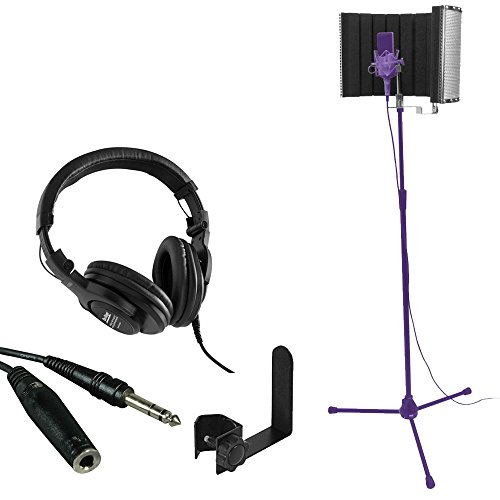 On Stage Stands WH4500 Pro Studio Headphones + On Stage Stands Isolation Shield MS4730 + TRS Headphone Extension Cable + On Stage Clamp-On Accessories Holder - Ultimate Accessory Bundle by OnStage