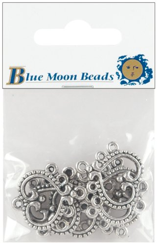 Blue Moon Beads 65656 Silver Plated Metal Connectors, 5-Hole Heart Chandelier, 6/Pkg