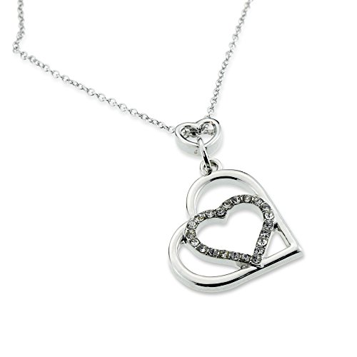 Open Heart Designer Pendant (Multiple Open Heart Pendant Silver Love Necklace Anniversary Christmas Jewelry Gift for Girlfriend Wife Mom)