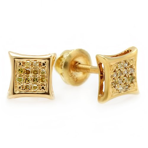 - 0.10 Carat (ctw) 14k Yellow Gold Yellow Round Diamond Micro Pave Setting Kite Shape Stud Earrings 1/10 CT