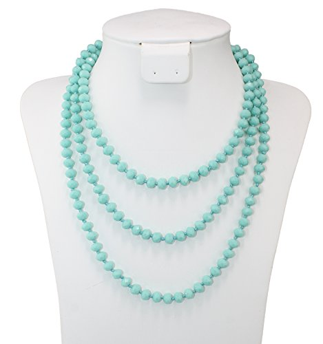 Pomina 8mm Glass Beaded Long Necklaces, 60 inches (Mint Beaded Necklace)