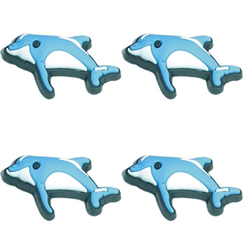Four (4) of Blue Dolphin Shoe Rubber Charms for Wristbands and Shoes