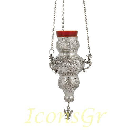 Orthodox Greek Christian Bronze Hanging Votive Vigil Oil Lamp with Chain and Red Glass - 409n by Iconsgr