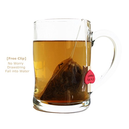 Bstean Tea Filter Bags Disposable Tea Infuser Drawstring Loose Leaf Tea with 100% Natural Unbleached Paper and Free Clip (100 PCS)