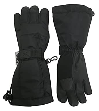 N'Ice Caps Kids Extreme Cold Weather 100 Gram Thinsulate Waterproof Ski Gloves (Black 2, 3-4yrs)