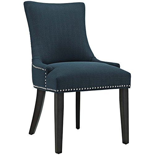 Modway Marquis Modern Elegant Upholstered Fabric Parsons Dining Side Chair With Nailhead Trim And Wood Legs In Azure