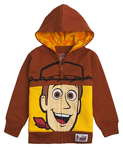 Toy Story Woody Boots (Toy Story Disney Big Face Zip-Up Hoodies -Buzz Lightyear, Woody - Boys (Woody Brown,)