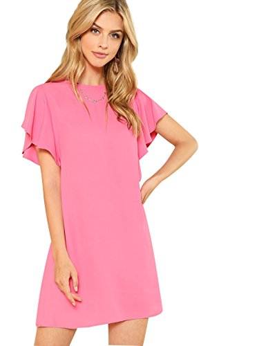 (Verdusa Women's Round Neck Flutter Short Sleeve Plain Dress Rose Pink M)