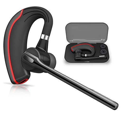 Bluetooth Headset HONSHOOP Bluetooth 5.0 Noise Reduction Bluetooth Earpiece in Ear Wireless Headphones Mic Earphones Business/Workout/Driving BlackRed by HonShoop