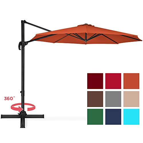 Best Choice Products 10ft 360 Degree Rotating Cantilever Offset Patio Umbrella w/Easy Tilt – Orange