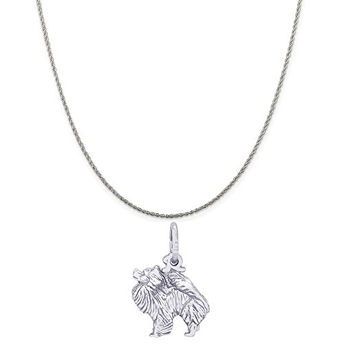 (Rembrandt Charms Sterling Silver 3D Pomeranian Dog Charm on a Rope Chain Necklace,)