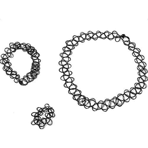 Outflower 3Pcs Collier Ras du Cou Bracelet Bague Ensemble Creux Ligne de Pr/éparation de Tatouage /Élasticit/é(Noir)