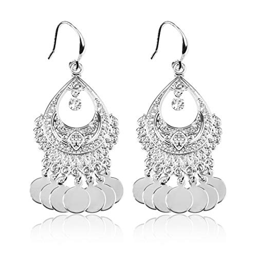 RIAH FASHION Bohemian Coin Dangle Chandelier Earrings - Lightweight Gypsy Filigree Hoops with Disc Charms (Gypsy Dangle 2 - Silver)