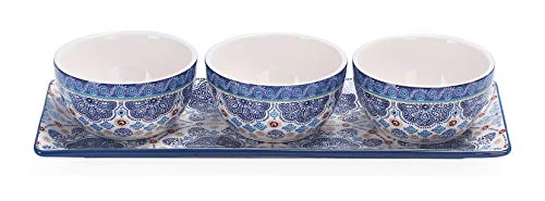 Bico Blue Talavera Ceramic Dipping Bowl Set (13oz bowls with 14 inches platter), for Sauce, Nachos, Snacks, Microwave & Dishwasher Safe, House Warming Birthday Anniversary Gift