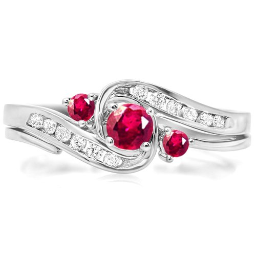 Dazzlingrock Collection 18K Round Ruby And White Diamond Swirl Bridal Engagement Ring Matching Band Set, White Gold, Size 9