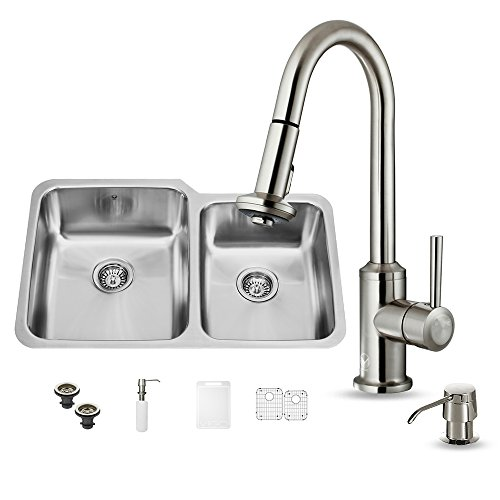 VIGO 32 inch Undermount 6040 Double Bowl 18 Gauge Stainless Steel Kitchen Sink with Astor Stainless Steel Faucet Two Grids Two Strainers and Soap Dispenser