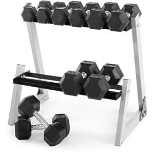 Weider 200 Lb, juego de pesas hexagonales de caucho, 10 – 30 kg con