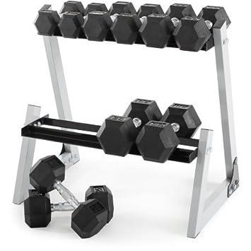 Weider 200 Lb, juego de pesas hexagonales de caucho, 10 - 30 kg con accesorio de caja: Amazon.es: Deportes y aire libre
