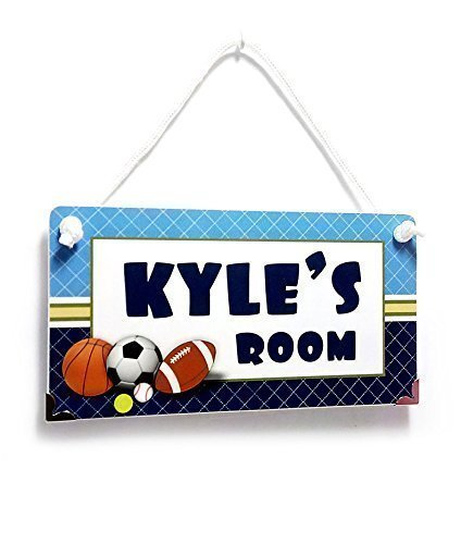 (Name Plaque for Boys Bedroom Sports Theme with Blue Accents )