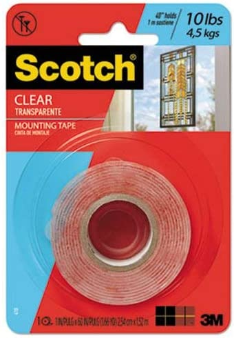 Scotch 410P Double-Sided Mounting Tape, Industrial Strength, 1-Inch X 60-Inch, Clear/rot Liner