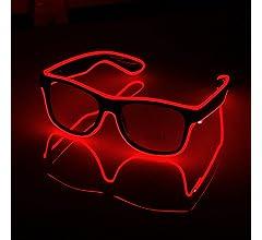 AZX LED-Brillen Mode Nacht Leuchten Gl/äser Multicolor Light Up Brillen F/ür Party Festival Kost/üm Club Blau