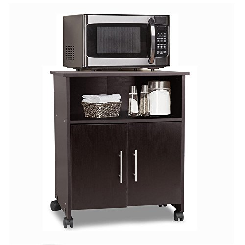 Topeakmart Portable Rolling/Mobile Kitchen Island Microwave/Utility Cart with 2 Door Storage Cabinet/Cupboard Stand on Wheels